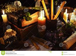 halloween mercy background halloween background with candles and magic objects stock photo