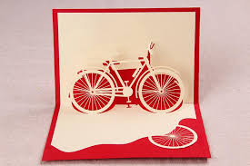 3d three dimensional greeting card stereo bicycle day gift