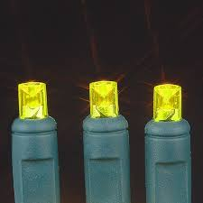 yellow 20 light battery operated lights on green wire