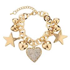 gold chain bracelet with charm images Fashion heart beetle charm bracelets bangles for women real gold jpg