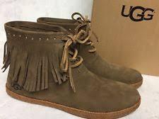 s ugg australia nubuck boots ugg australia alexia chestnut nubuck leather fringe moccasin