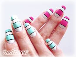 striped nail designs nailbees