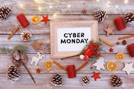cyber monday christmas lights cyber monday text in frame on christmas flat lay table with image