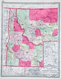 Map Of Montana State by Map Of Idaho And Western Montana 1914