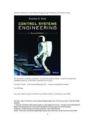 solutions manual control systems engineering 7th edition by norman