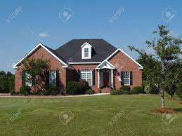 one story new red brick residential home stock photo picture and
