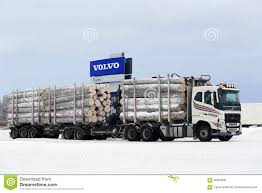 big volvo volvo fh logging truck hauls big timber load editorial photo