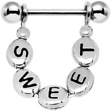 with nipple rings images Custom steel handcrafted personalized message nipple ring bodycandy jpg