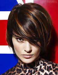 short hair with triangle bangs and colored in two tones