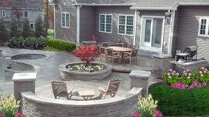 backyard patio firepit ideas with outdoor round dining table and