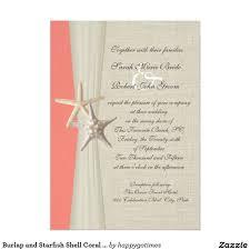 Personal Wedding Invitation Cards Burlap And Starfish Shell Coral Beach Wedding Card Coral Beach