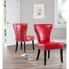 safavieh en vogue dining matty red leather nailhead dining chairs