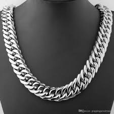 length mens necklace images 18 36 21mm hot newest 316l stainless steel silver polished curb jpg