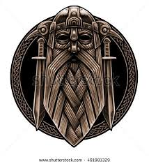 norse god odin crows swords graphic stock illustration 491981335
