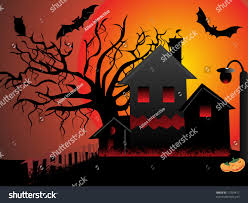 red halloween background night scene haunted house cats bats stock vector 17329411