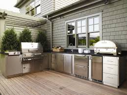 Outdoor Kitchen Stainless Steel Cabinets Summer Kitchen Ideas Black Canopy Near Dining Table Set Stainless