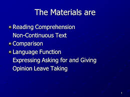 reading comprehension materials the materials are reading comprehension non continuous text