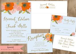 printable wedding invitation suite with orange persimmon pink