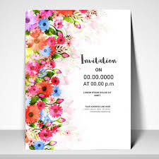 invitation card template design with watercolor flowers vector