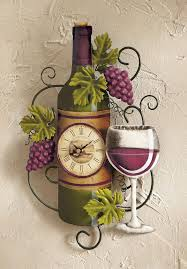 Grapes And Wine Home Decor Wine Bottle Wall Clock Kitchen Vineyard Winery Decor Clocks Grapes