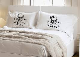 his and hers pillow cases skull and crossbones couples gift his hers pillowcase