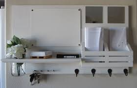 Entry Shelf Entryway White Wooden Shelf With Black Hooks And Organizers Plus