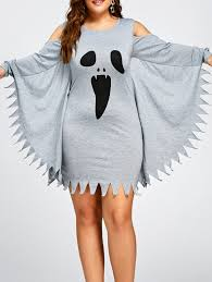 halloween plus size ghost print bat wing dress in gray xl