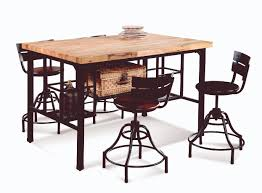 industrial butcher block dining kitchen table with storage and