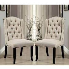 Ivory Chair Sania Elegant 2 Pcs Dining Side Chairs Tufted Chair Wingback