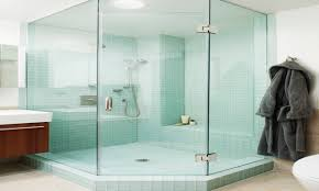 bamboo glass tile glass tile shower bathroom contemporary with