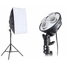 Photography Lighting 3 In 1 Photo Studio Kit 4 L Holder 2m Light Stand 50 X 70cm