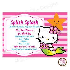 hello kitty mermaid party pink custom invitation printable