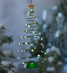 green spiral lighted tree solar lighted christmas tree hanging decoration decorative garden