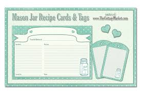 printable recipe cards template free printable mason jar recipe cards and tags awesome in aqua the