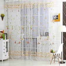 Sheer Panel Curtains Room Divider Voile Window Curtain Door Sheer Tulle Panel Floral