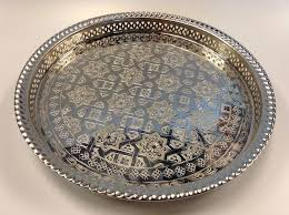 engraved serving tray moroccan tea silver tray engraved arabic pattern design 14 5 dia