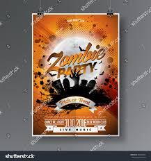 techno halloween background vector halloween zombie party flyer design stock vector 498346894