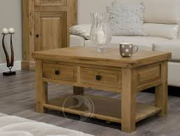 Solid Oak Coffee Table Coniston Rustic Solid Oak Coffee Table With Drawers Oak Furniture Uk