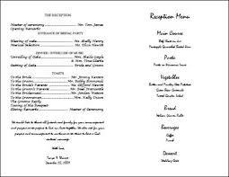 wedding reception program template wedding day program template cs world