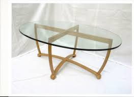 oval glass top coffee tables u2013 brown coated iron frame