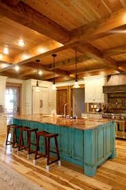 decor log cabin decor in kitchen with kitchen island and
