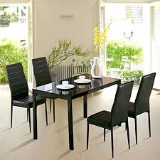 Dining Room Chairs Set Of 4 4family 5pc Dining Table Set 4 Chairs Glass Metal Kitchen Room