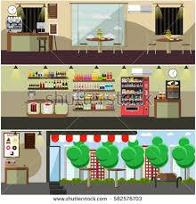 vector set coffee shop coffee house stock vector 605247434