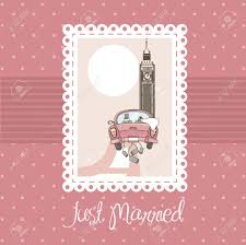 just married cards pink just married card background royalty free cliparts vectors