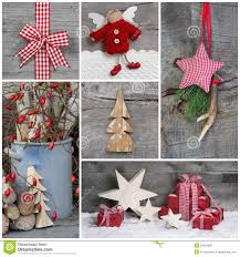 collage of christmas photos and decorations on grey wooden backg