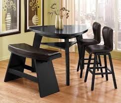 Brown Leather Bench Seat Ashley Triangle Dining Table Brown Polished Wooden Dining Set