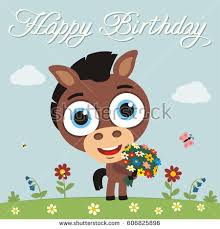 happy birthday you funny goat sings stock vector 612194171