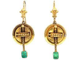 emerald drop earrings 15ct gold emerald drop earrings the antique