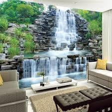 Bedroom Water Feature Wholesale Custom 3d Mural Wallpaper Water Flowing Waterfall Nature
