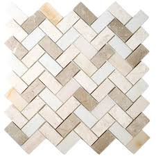 shop allen roth marble beige honed natural stone mosaic random